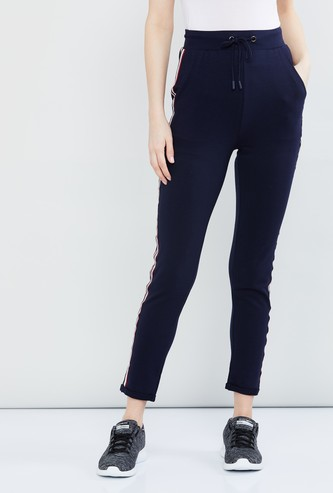 MAX Solid Tape-Detailed Track Pants