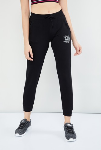 MAX Solid Drawstring Joggers with Typographic Print