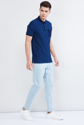 MAX Striped Polo T-shirt with Patch Pocket