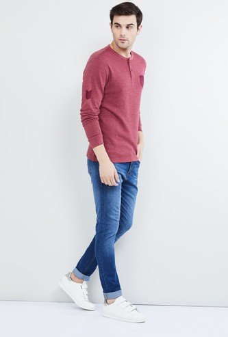 MAX Textured Henley T-shirt with Printed Patches
