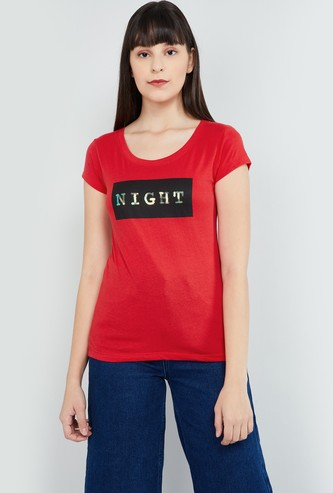 MAX Sequin Embellished Round Neck T-shirt