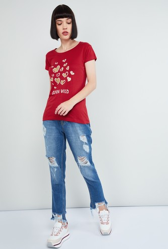 MAX Printed Round Neck T-shirt with Short Sleeves