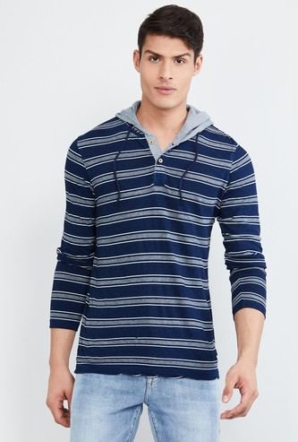 MAX Striped Henley Collar Hooded T-shirt