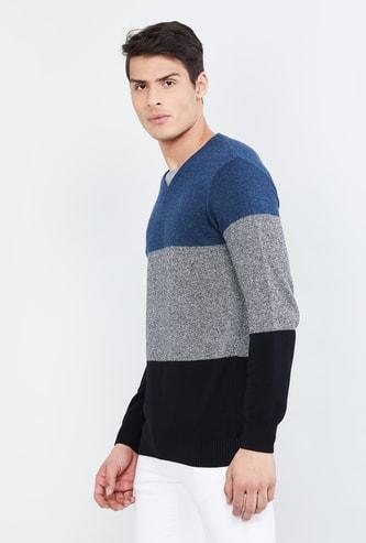 MAX Colourblocked V-neck Sweater
