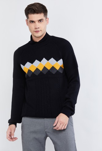MAX Checked High-Neck Sweater