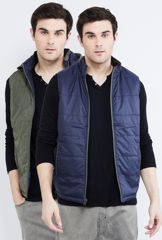 MAX Solid Reversible Sleeveless Quilted Jacket