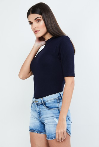 MAX Ribbed Mock-Collar Top