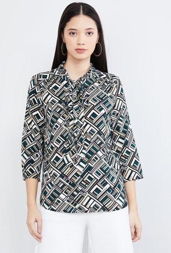 MAX Geometric Print Three-quarter Sleeves Top