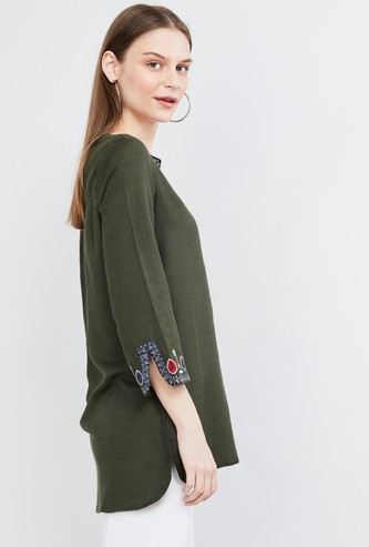 MAX Embroidered Tunic with Vented Sleeve Hems