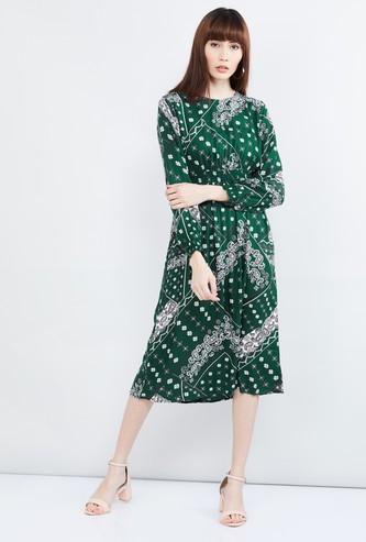 MAX Printed Full Sleeves Midi Dress