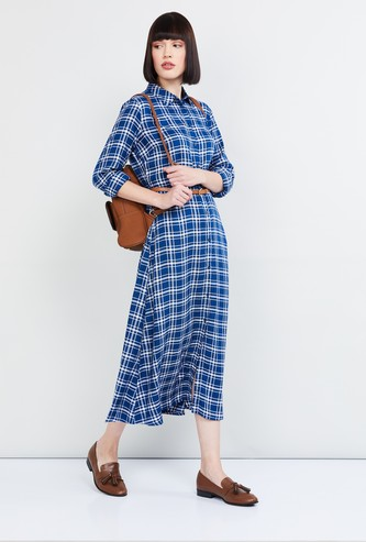 MAX Checked Midi Dress with Button Placket