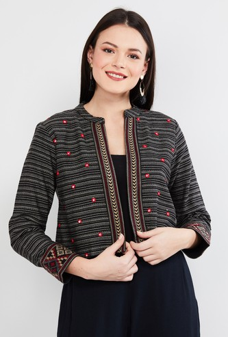 MAX Patterned Cropped Ethnic Jacket