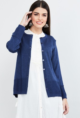 MAX Textured Knit Full Sleeved Cardigan
