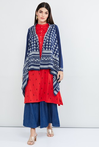 MAX Patterned Knit Waterfall Shrug