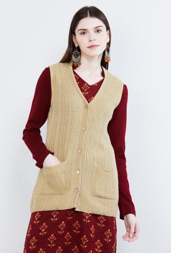 MAX Textured V-neck Sweater Vest