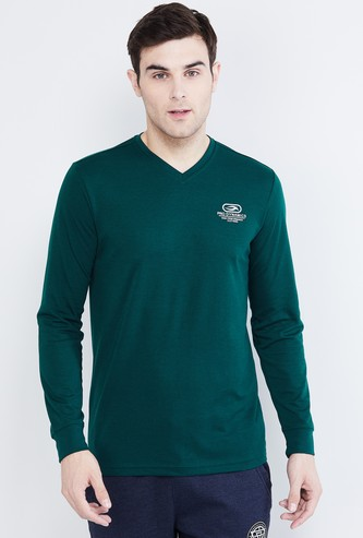 MAX Patch Printed Full Sleeves V-neck T-shirt
