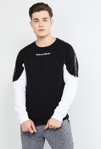 MAX Printed Colourblocked Full Sleeves Sweatshirt
