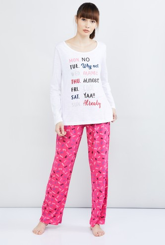 MAX Typographic Print T-shirt with Pyjamas