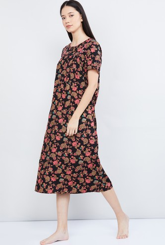 MAX Floral Print Short Sleeves Gown