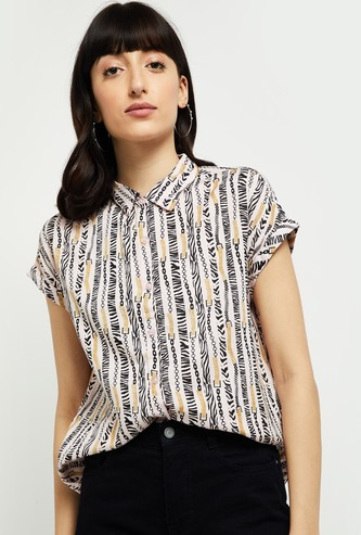 MAX Printed Casual Shirt with Upturned Hems