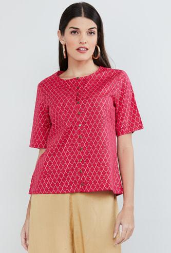 MAX Foil Print Short Sleeves Top