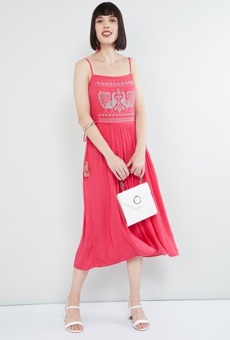 MAX Embroidered Midi Dress with Shoulder Straps