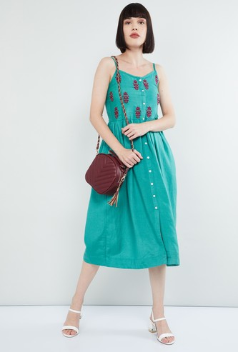 MAX Embroidered Button-Down Midi Dress