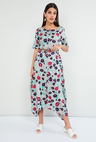 MAX Floral Print Midi Dress with Dipped Hems