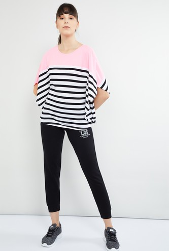 MAX Striped Round Neck Flared Sleeves Top
