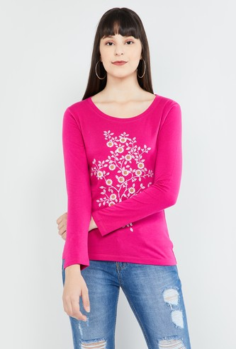 MAX Floral Print Full Sleeves Top