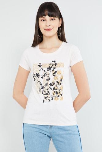MAX Tropical Print Cap Sleeves T-shirt