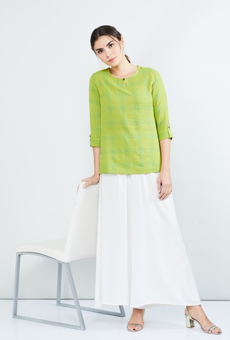 MAX Checked Rolled-Up Sleeves Kurti