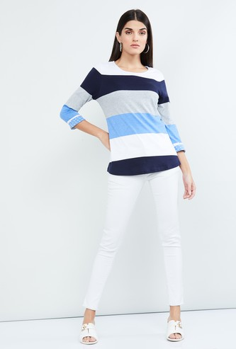 MAX Striped Three-quarter Sleeves T-shirt
