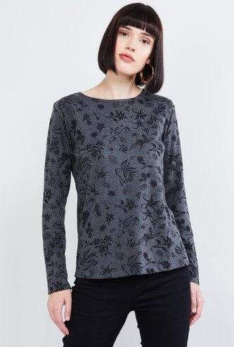 MAX Floral Print Round Neck Top