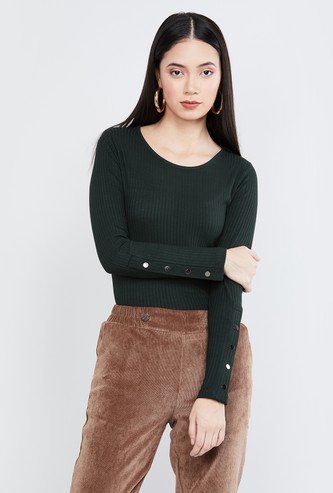MAX Ribbed Full Sleeves Top
