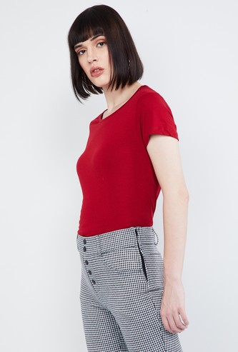 MAX Solid Cap Sleeves Stylised Back T-shirt