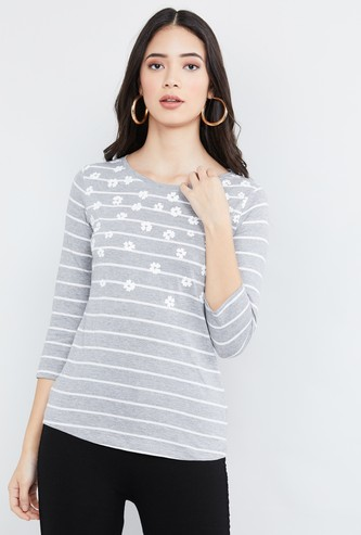 MAX Printed Three-Fourth Sleeves Top