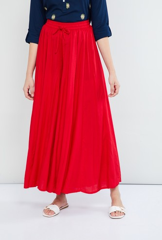MAX Solid A-line Maxi Skirt