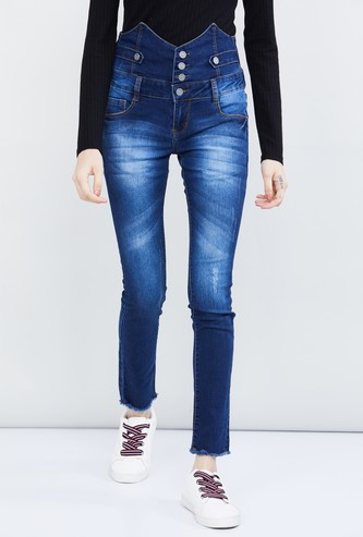 MAX Solid Skinny Fit High Rise Jeans