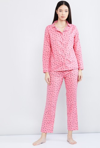 MAX Printed Night Shirt with Pyjamas