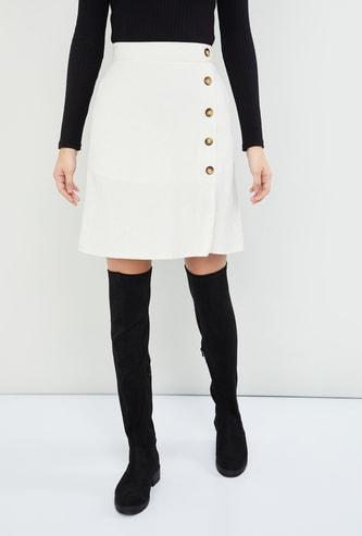 MAX Solid Wrap Mini Skirt