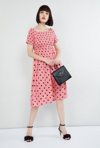 MAX Polka Dot Print Milkmaid Dress