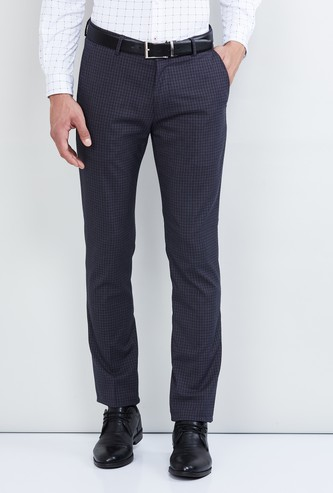 MAX Checked Slim Fit Formal Trouers