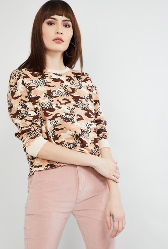 MAX Camouflage Print Long Sleeves Sweatshirt