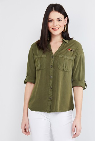 MAX Solid Three-quarter Sleeves Shirt