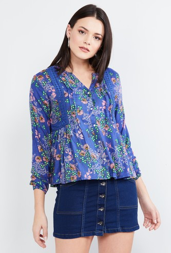 MAX Floral Print Top with Gathers