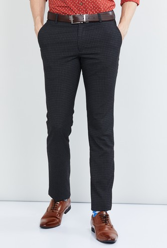 MAX Checked Slim Fit Formal Trousers