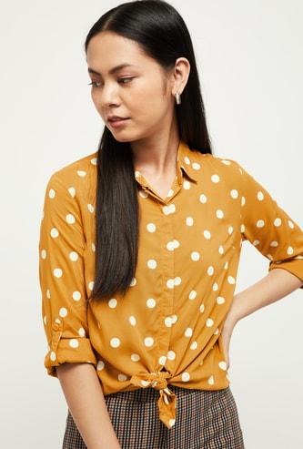 MAX Polka Dot Print Full Sleeves Casual Shirt