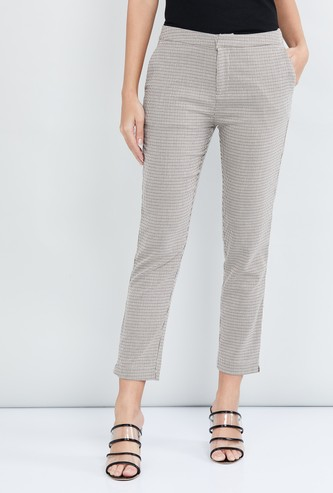 MAX Striped Cropped Slim Fit Treggings