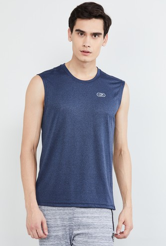 MAX Solid Sleeveless Crew Neck T-shirt